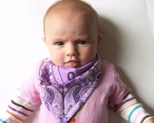 Purple Bandana Bib for Baby, Bibdana, Gift Set, Baby Shower Gift, Lavender Bandana