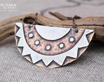Southwestern Crescent Bib Necklace, Silver, Brass