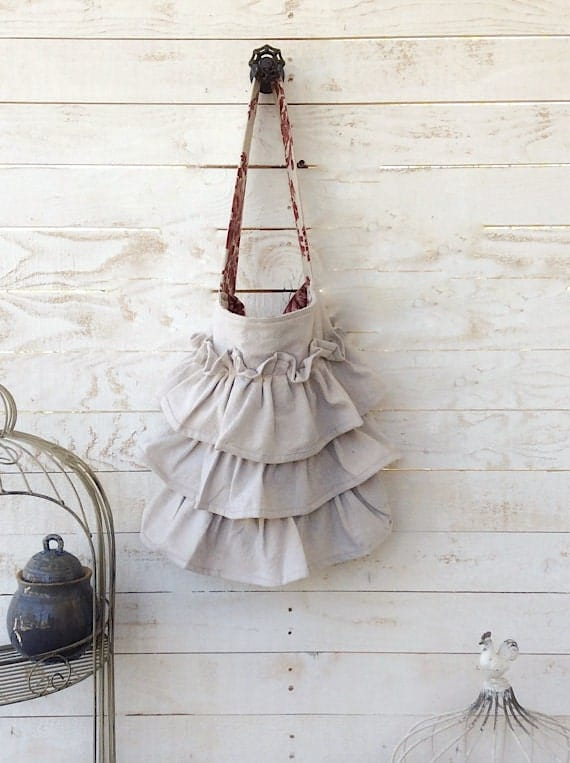 Tote Bag, Rustic Ruffles, Farmhouse, Shabby Romantic, Ecru, Natural, Anthropologie Style