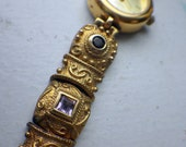 Jeweled Watch - Gold Over Sterling - Quartz Ladies Watch.
