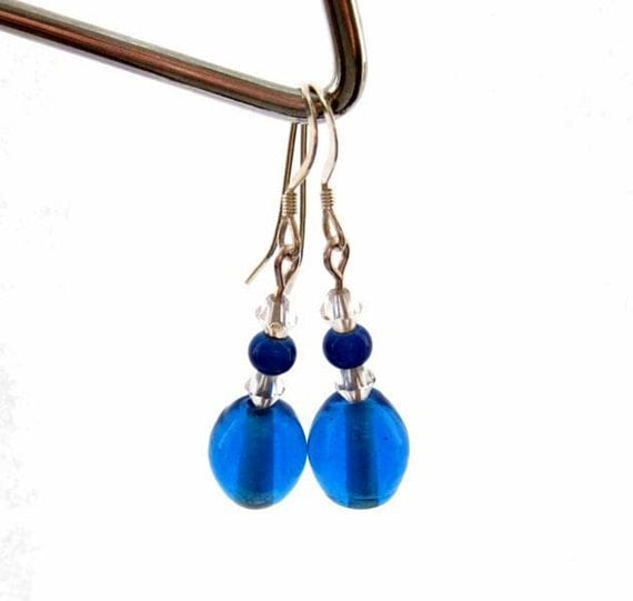 Blue dangle earrings. Peacock blue. Sapphire Seas.