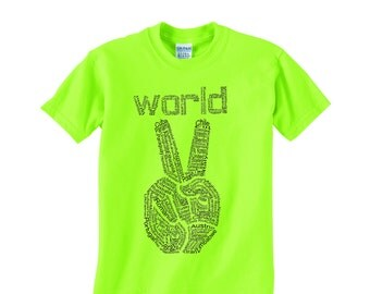 Kids, World Peace T shirt, graphic tee, youth peace shirt, boys and girls, peace sign, Peace for back to school, kids gift, cool kids tshirt