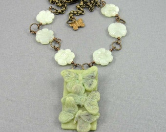 Jade Green Butterfly Trio Necklace, polymer clay pendant and gemstone beads on antiqued brass chain, adjustable length, insect jewelry