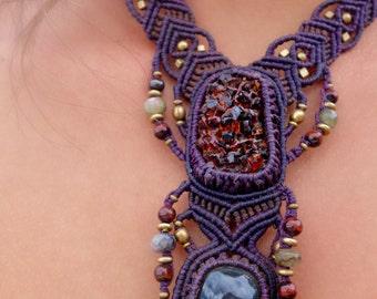 Garnet and Rainbow Obsidian Macrame Necklace | Double Pendant | Micro-Macrame | Unisex, Healing Crystal Jewelry