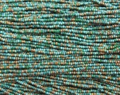 10/0 Turquoise Jade Striped Picasso Mix Czech Glass Seed Beads 3 Strand Hank (AW292)