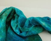 35x35 variegated playsilk - natural play silk scarf - hand-dyed - MERMAID SEA