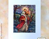 Saint Christopher art print, Catholic folk art painting, Patron Saint of Travelers