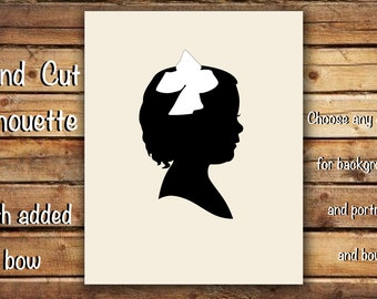 Custom Hand Cut Silhouette Portrait - With Added Cut Bow - Unframed - Hand Cut Silhouette Portrait - Various Sizes - Traditional Gift