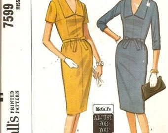 1960s Vintage Sewing Pattern - 1960s Wiggle Dress.- 60s Dress - Mid Century Modern -Classic 60s Dress Pattern - McCalls 7599 - Uncut