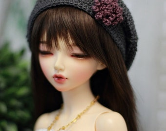 Crochet hat for BJD, Minifee, MSD Beret in Dark Grey with Plum Flower
