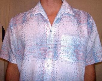Vintage Spire White Blue Mosaic Shirt XL