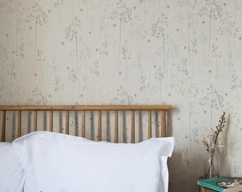 Meadow Grass wallpaper in oatmeal & blush
