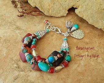 Artisan Bracelet, Boho Southwest Jewelry, Rustic Tribal Turquoise Bracelet, Chunky Stone Bracelet, Boho Style Me, Kaye Kraus