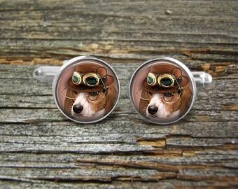 Dog Steampunk Beagle Hound Goggles Cufflinks-Wedding-Jewelry Box-Silver-Gold-Keepsake-Man gift-Geek-Nerd-Hat-Geek-Hunting Dogs-Cute Dogs