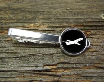Airplane Aviation Tie Clip-Silver or Gold-Weddings-Gift Box-Handmade-Wedding-Keepsake-Groom-Groomsmen-Men Gift-Air Plane-Pilot-Commercial