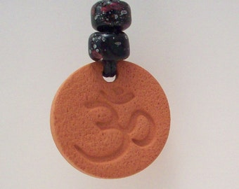 Om Natural Diffuser Jewelry - Terra Cotta Aromatherapy Necklace - with or without Your Choice of Essential Oil - No Metal Pendant