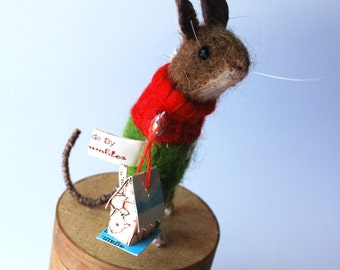 Original Needle Felted Mouse with Little House  By Miss Bumbles