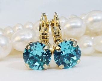Aqua crystal Earrings Teal Blue 8mm Drop Earrings Swarovski Rhinestone Gold finish Light Turquoise Tiffany Green Sea Blue, ARCTIC DESERT,GE2