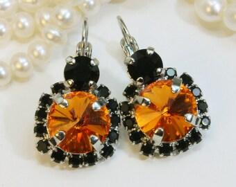 Black Orange Earrings Halloween Earrings Halloween Jewelry Orange Black large Drop Halo Earrings,Swarovski Crystals,Silver,Tangerine,SE102