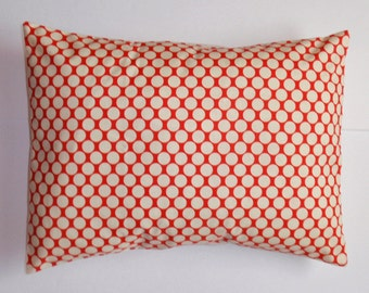 """Throw Pillow Cover, Lumbar Pillow, Accent Pillow, Cushion Cover, Polka Dot Pillow Cover, Cherry Red Pillow, Amy Butler Fabric, 12x16"""" Square"""