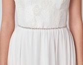 Silver Bridal Sash | Rhinestone Skinny Wedding Belt | Silver Rhinestone Sash Belt [Cleo Sash: Silver]