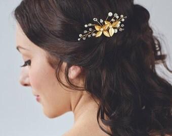 Gold Leaf Hair Comb | Flower Hair Clip | Gold Hair Comb | Bridal Headpiece | Wedding Hair Accessories | Flower Hair Piece [Linnea Hairpin]