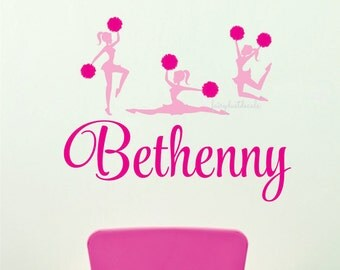 Cheerleader Wall Decal with Girl Name Dance Cheer Wall Decal Personalized Preppy Girl Bedroom College Dorm Three Varsity Cheerleaders New