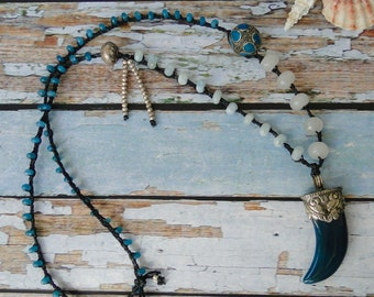 JADE TUSK NECKLACE, yoga, tribal, boho