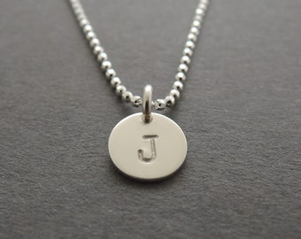 Monogram Necklace mothers day gift silver initial disc necklace hand stamped gift sterling silver mother grandmother necklace