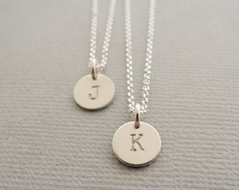 Initial Disc Necklaces Mother and Daughter Necklaces 2 personalized necklaces . twin sisters . best friends . sterling silver necklace