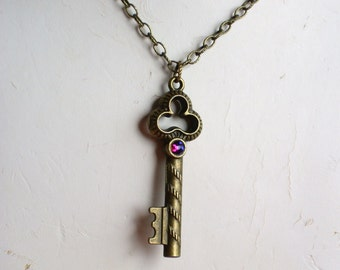 Reversible Medieval Key Pendant Necklace