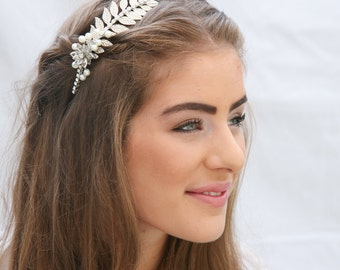 Grecian Silver Tone Metal Leaf Headband with Rhinestones and Pearls Wedding Headpiece Metal Headband for Adults Silver Leaf Hair Accessory