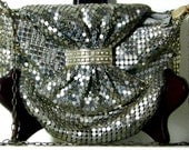 Metallic Beaded Mesh Art Deco Evening Purse w/Iridescent Stones-Shiny and Dazzling Vintage
