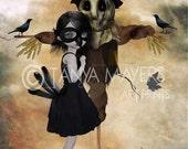 Lowbrow Art Print - Weird Romance - Girl & Scarecrow - Unrequited Love