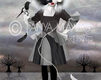 Bird Art Print - Pop Surrealism Art  - Magpie