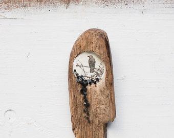 Blackbird Raven Original Encaustic Painting on Driftwood