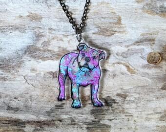 American Bulldog in Watercolor Splash Necklace