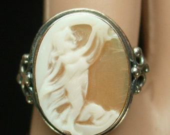 Reserved for susan Romantic Cupid Cameo Ring Carved Cherub vintage sterling Victorian Angel Size 9
