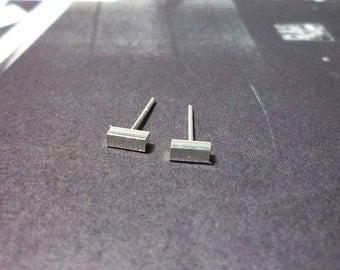 Silver Bar Stud Earrings, Sterling Silver Bar Earrings, Bar Stud earrings