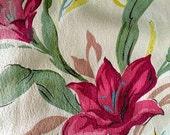 "Vintage 40s Barkcloth Fuchsia Tulips with Attitude// Hollywood Glam Chic// Cotton Yardage// Upholstery-Drapery//2 Panels 47""x78"""