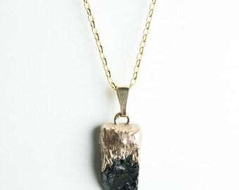 Black Tourmaline 24KT GOLD Pendant - Modern - Minimalist-  Unique Original Jewelry Design by Philip Crow -