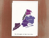 The Boroughs of New York City in Purples: Boxed Notes / Tote Bag / Notebook / Art Print