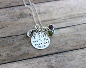 I love you to the moon and back, Hand stamped sterling silver birthstone necklace with Swarovski crystals and Moon charm