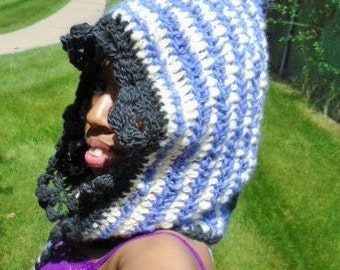 Purple white and gray crochet lace wool hood