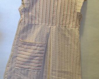 Cotton tan dot and stripe girls dress