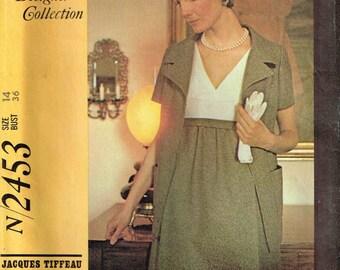 Empire Waist Dress Designer Jacques Tiffeau Vintage 1970s McCalls 2453 Sewing Pattern Misses Size 14 Bust 36