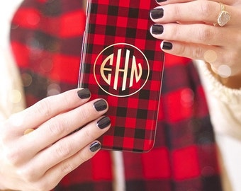 Monogrammed iPhone / Tech Case - PLAID Collection, choice of color