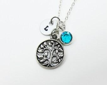Ancient Tree Filigree Necklace - Personalized Initial Name, Customized Swarovski crystal birthstone