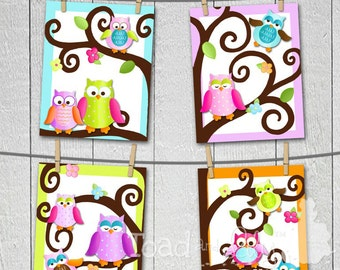 Set of 4 Fun Owl on a Limb Girls Bedroom 8x10 Art Prints
