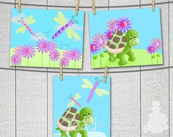 Set of 3 Pretty Dragonfly and Turtlr Girls 8 x 10 ART PRINTS